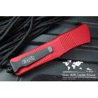 """มีดออโต้ Microtech Red Combat Troodon Tanto OTF Knife (3.8"""" Black Plain) 144-1RD"""