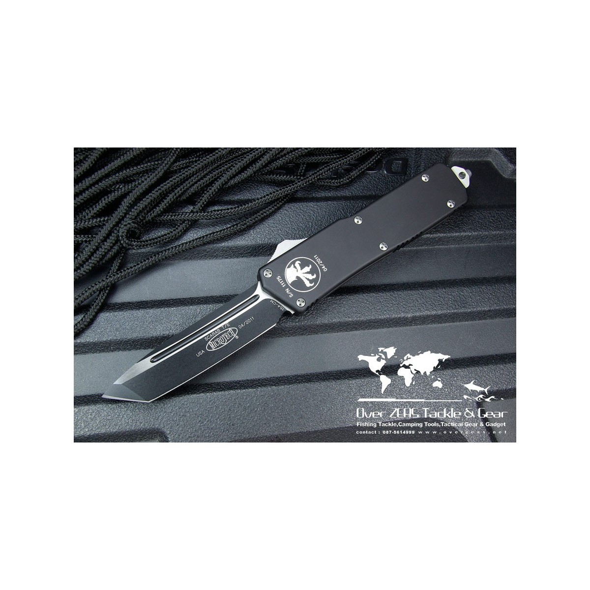 "มีดออโต้ Microtech Scarab Executive OTF Tanto Automatic Knife (3.5"" Black Plain) 108-1"