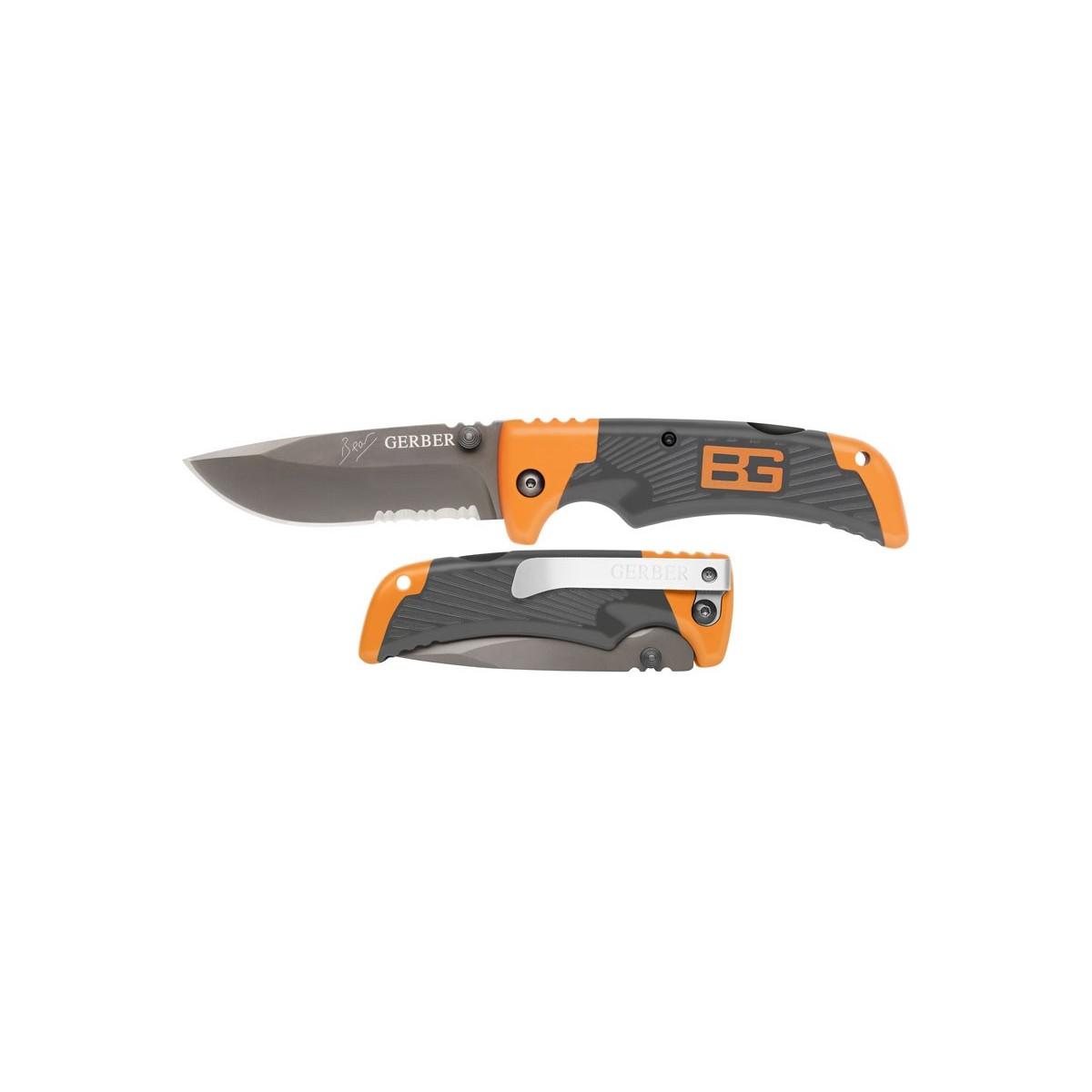 """มีดพับ Gerber Bear Grylls Scout Folding Knife 3.3"""" Combo Blade, Rubber Grip Handles"""