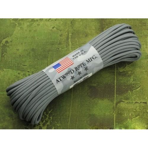 เชือกเอนกประสงค์ 550 PARACORD ยาว 100 ฟุต 7 เส้นใยแกนกลาง รับแรงดึง 550lbs สีเทา Made in USA.