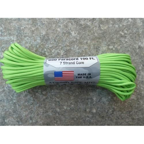 เชือกเอนกประสงค์ 550 PARACORD ยาว 100 ฟุต 7 เส้นใยแกนกลาง รับแรงดึง 550lbs สีเขียวนีออน Made in USA.