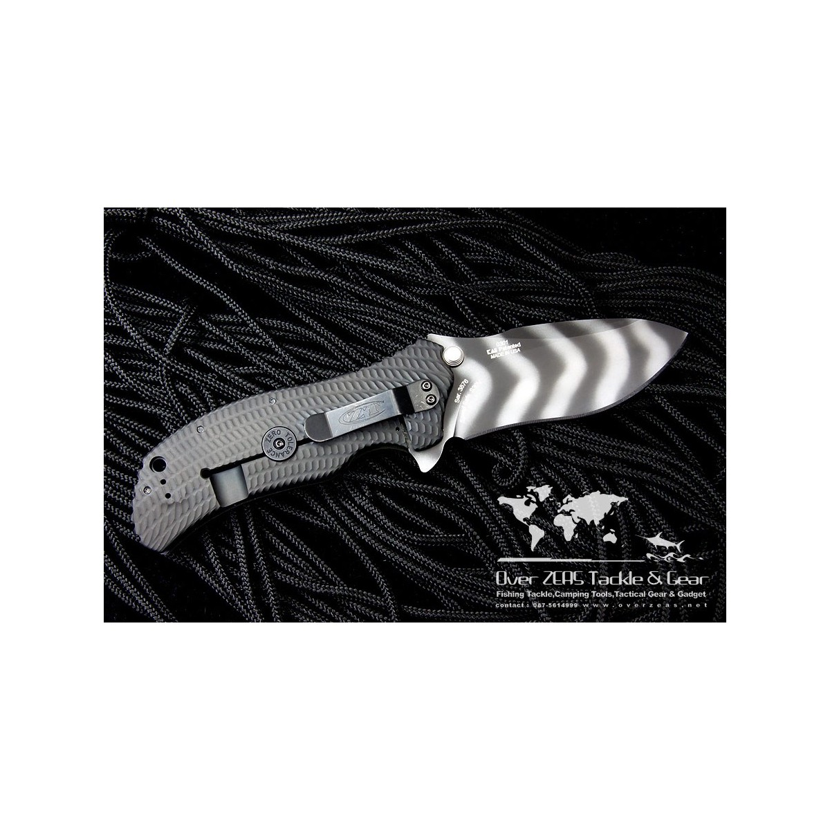 """มีดพับ Zero Tolerance Model 0301 Assisted 3-3/4"""" S30V Plain Blade, Ranger Green G10 and Titanium Back Handles"""