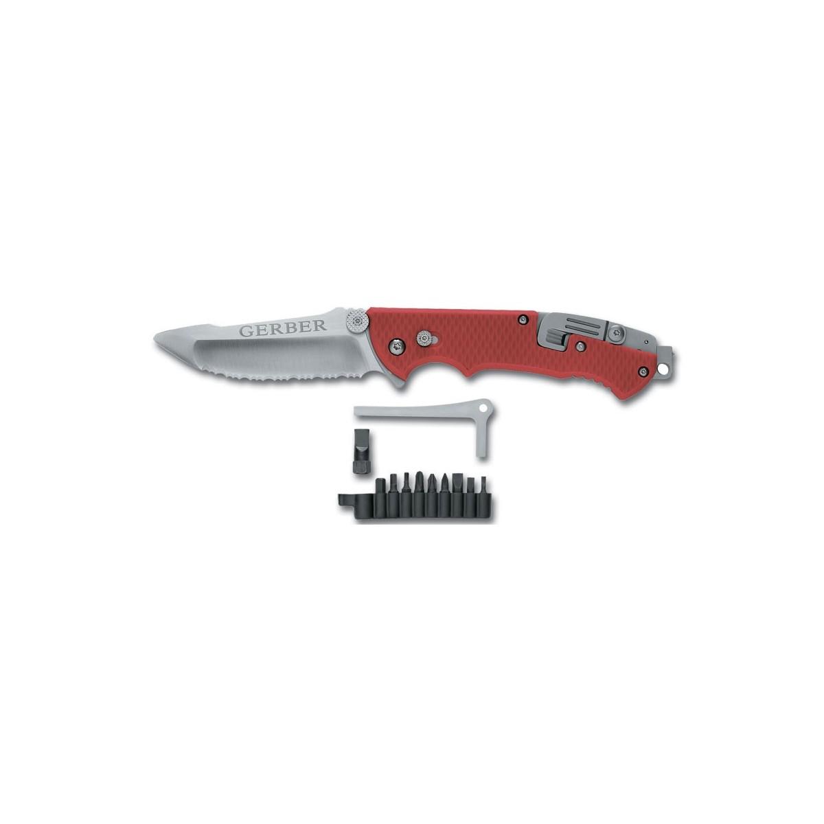 มีดพับ  Gerber Hinderer Rescue Knife w/Oxygen Tank Wrench and Accessory Tools
