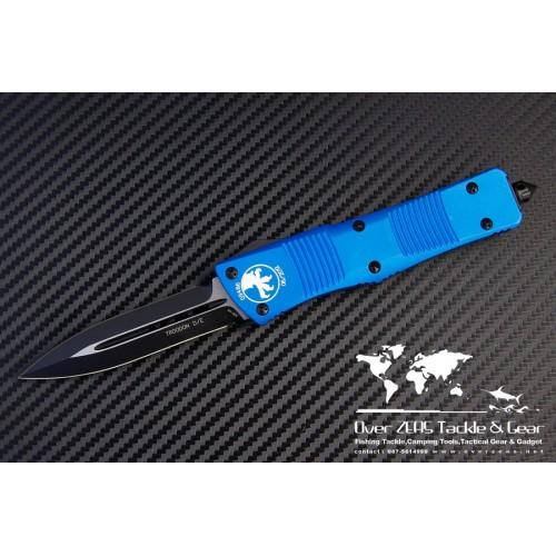 """มีดออโต้ Microtech Blue Troodon D/E OTF Automatic Knife (3"""" Black Plain) 138-1BL"""
