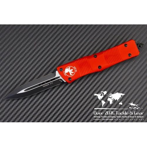 """มีดออโต้ Microtech Red Troodon D/E OTF Automatic Knife (3"""" Black Plain) 138-1RD"""