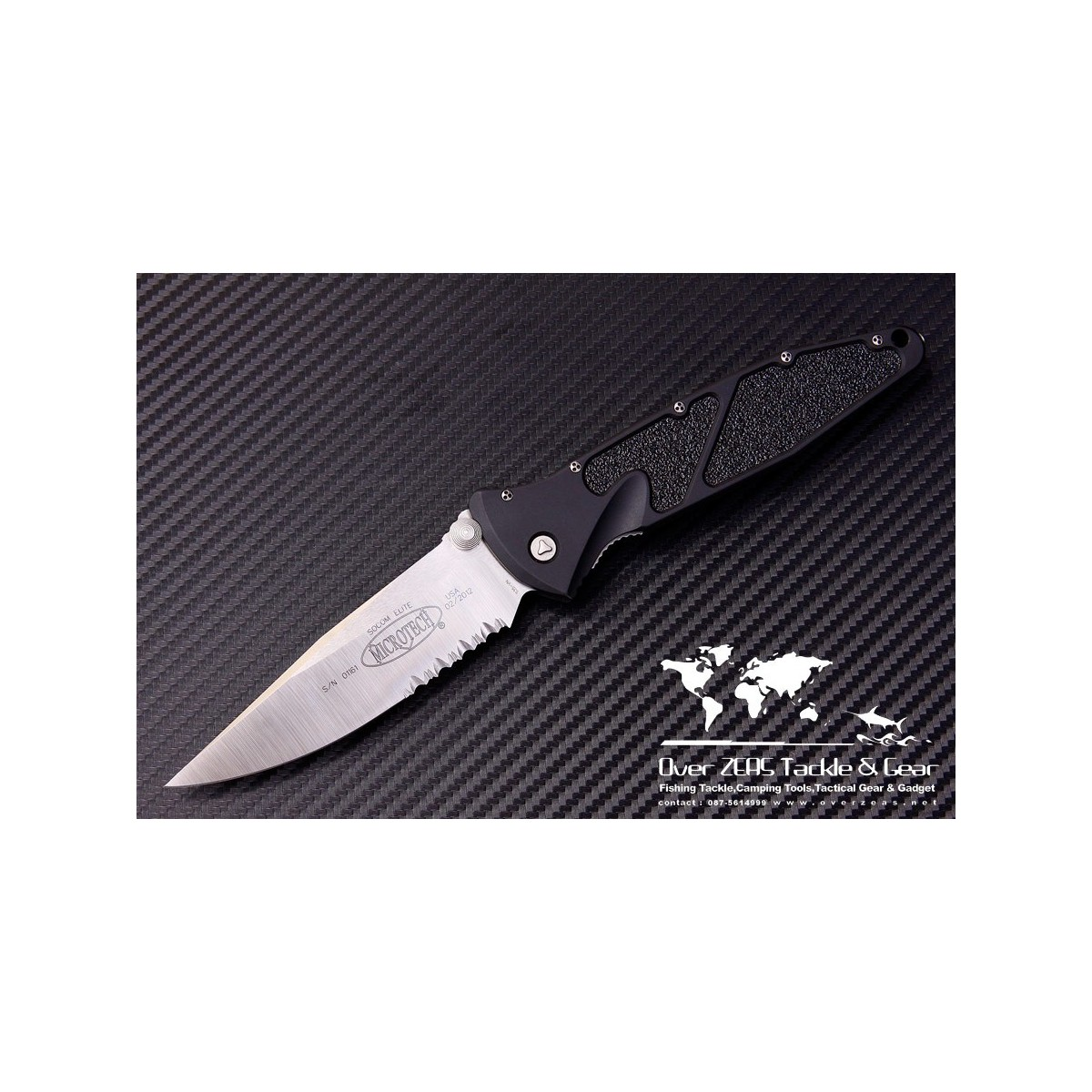 "มีดพับ Microtech Socom Elite M/A Folding Knife (4"" Satin Serr) 160-5"