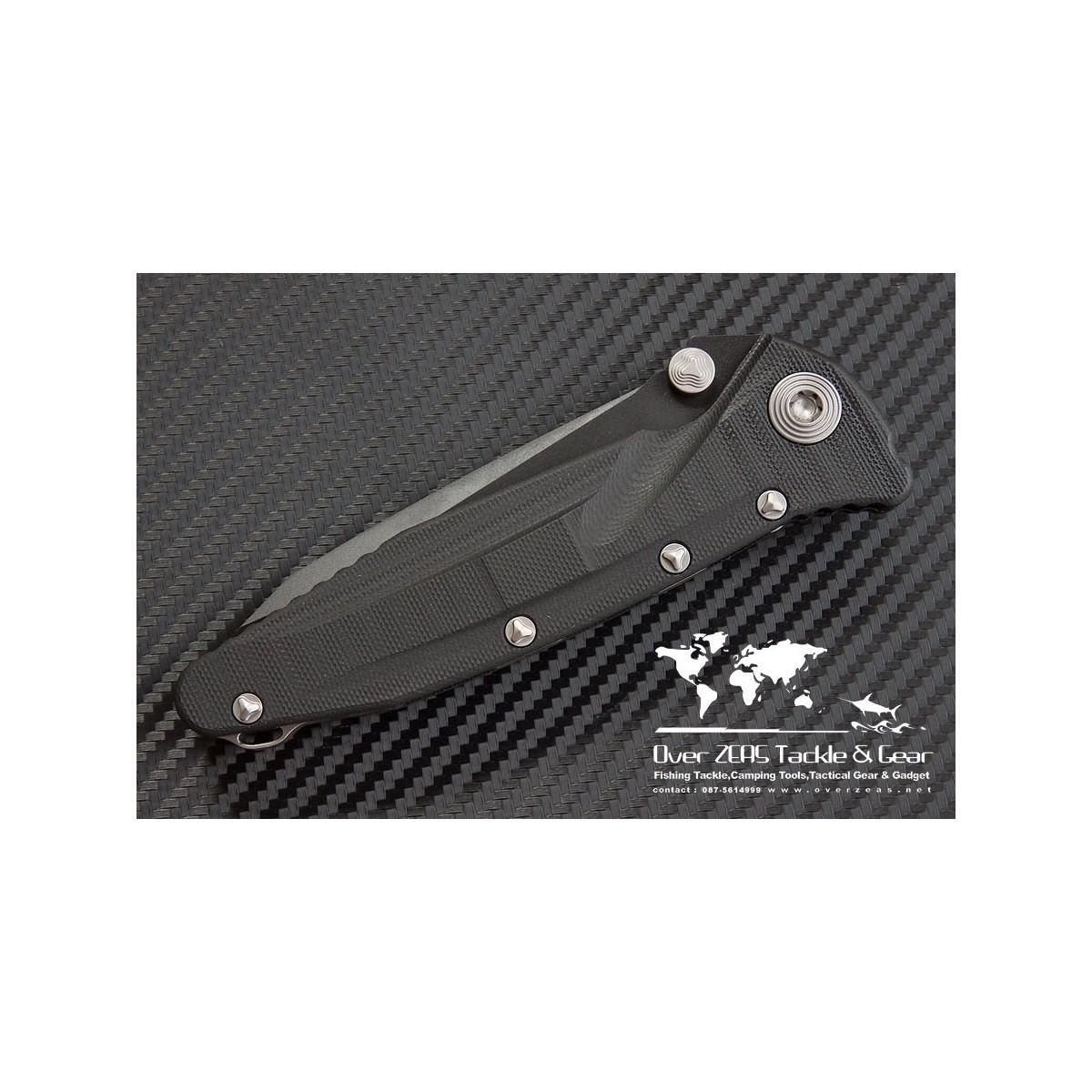 """มีดพับ Microtech Socom Delta Tanto Folding Knife G-10 (4"""" Black Full Serr) 163-3"""