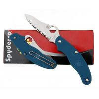 "Spyderco UK Penknife 3"" Plain Leaf Blade, Blue FRN Handles"