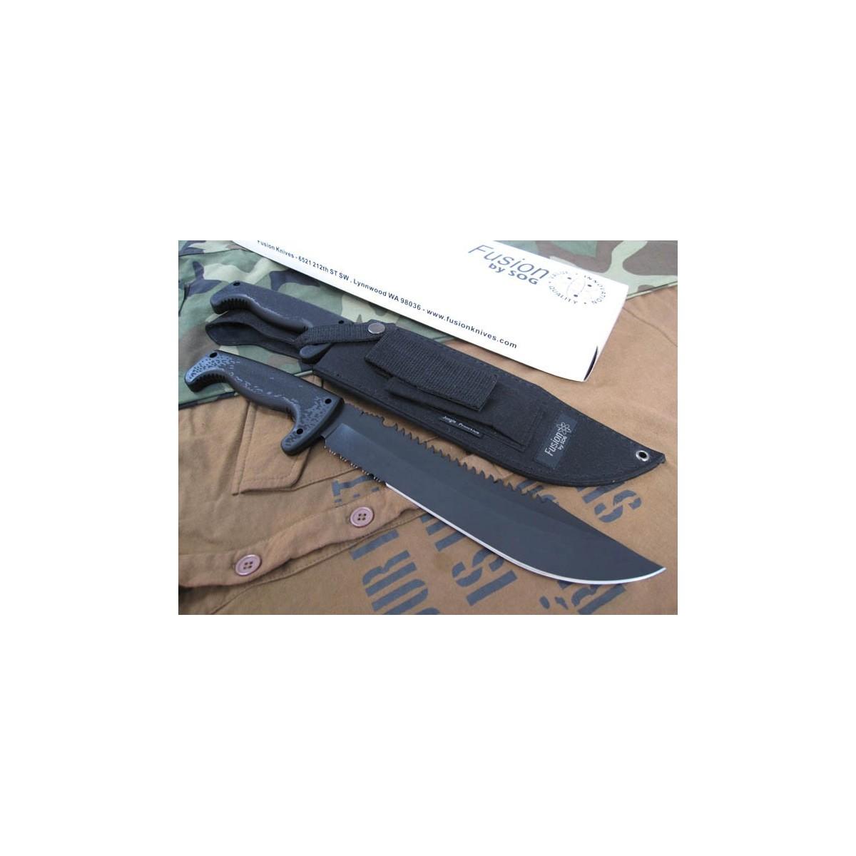 """มีดใบตาย SOG F03T Jungle Primitive Fixed 9.5"""" Black Sawback Blade, Kraton Handles, Nylon Sheath"""