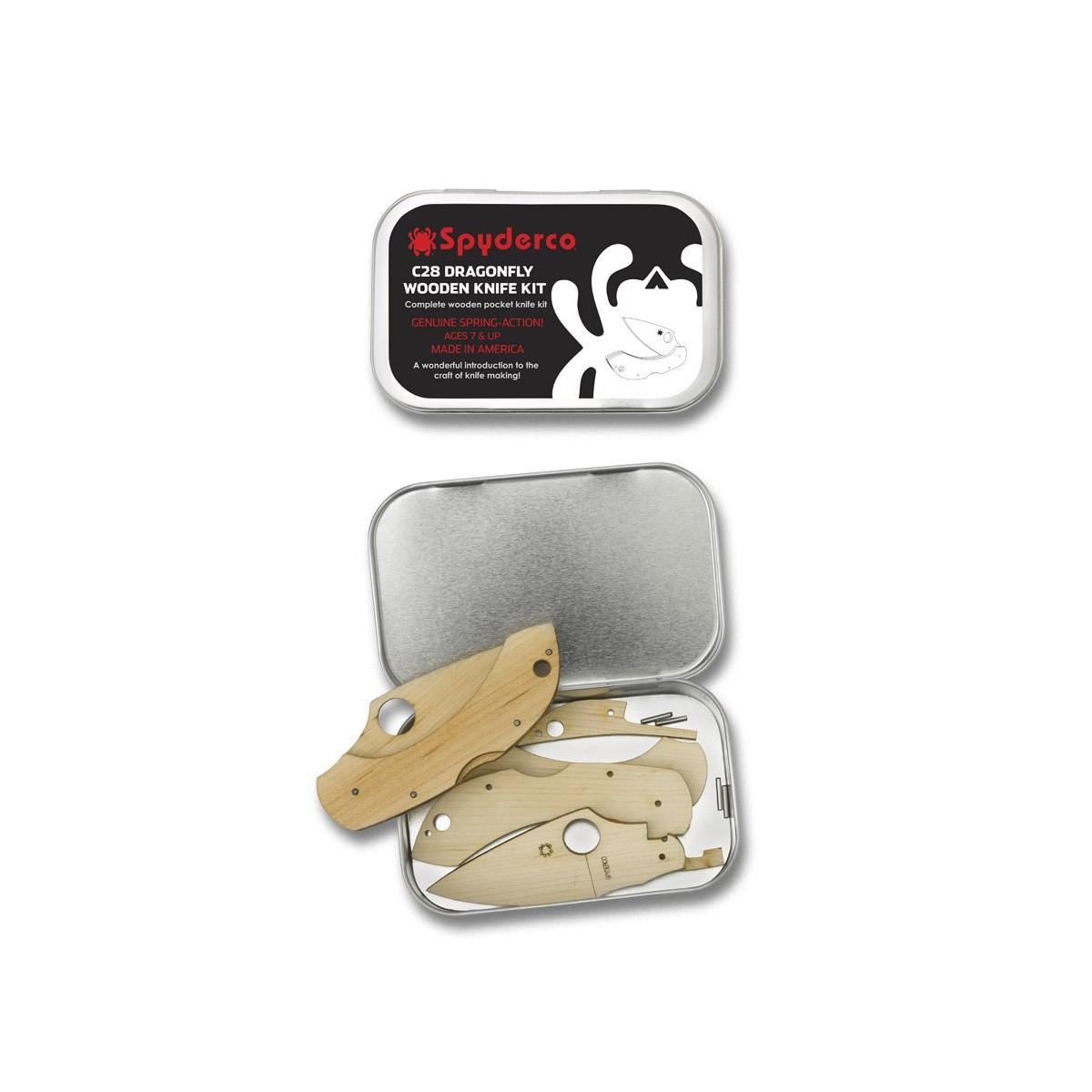มีดพับไม้สำหรับเด็ก Spyderco C28 WDKIT1 Dragonfly Wooden Folding Knife Kit, Gift Tin
