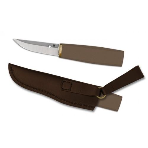 """มีดใบตาย Spyderco FB28WDP Puukko Fixed 3.3"""" S30V Blade, Arizona Ironwood Handles, Leather Sheath"""