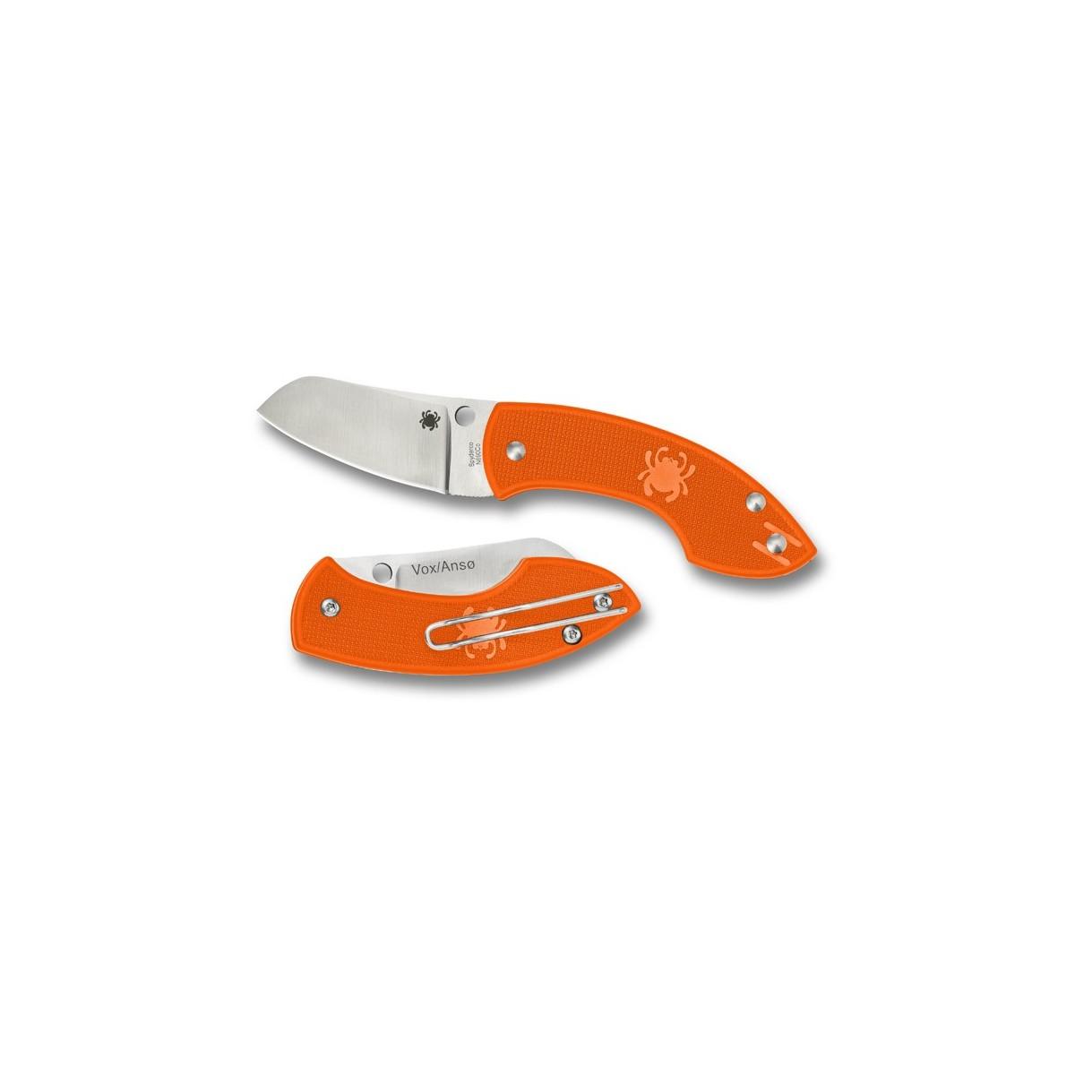"""มีดพับ Spyderco C163POR Pingo Folding Knife 2.35"""" Plain N690CO Blade, Orange FRN Handles"""