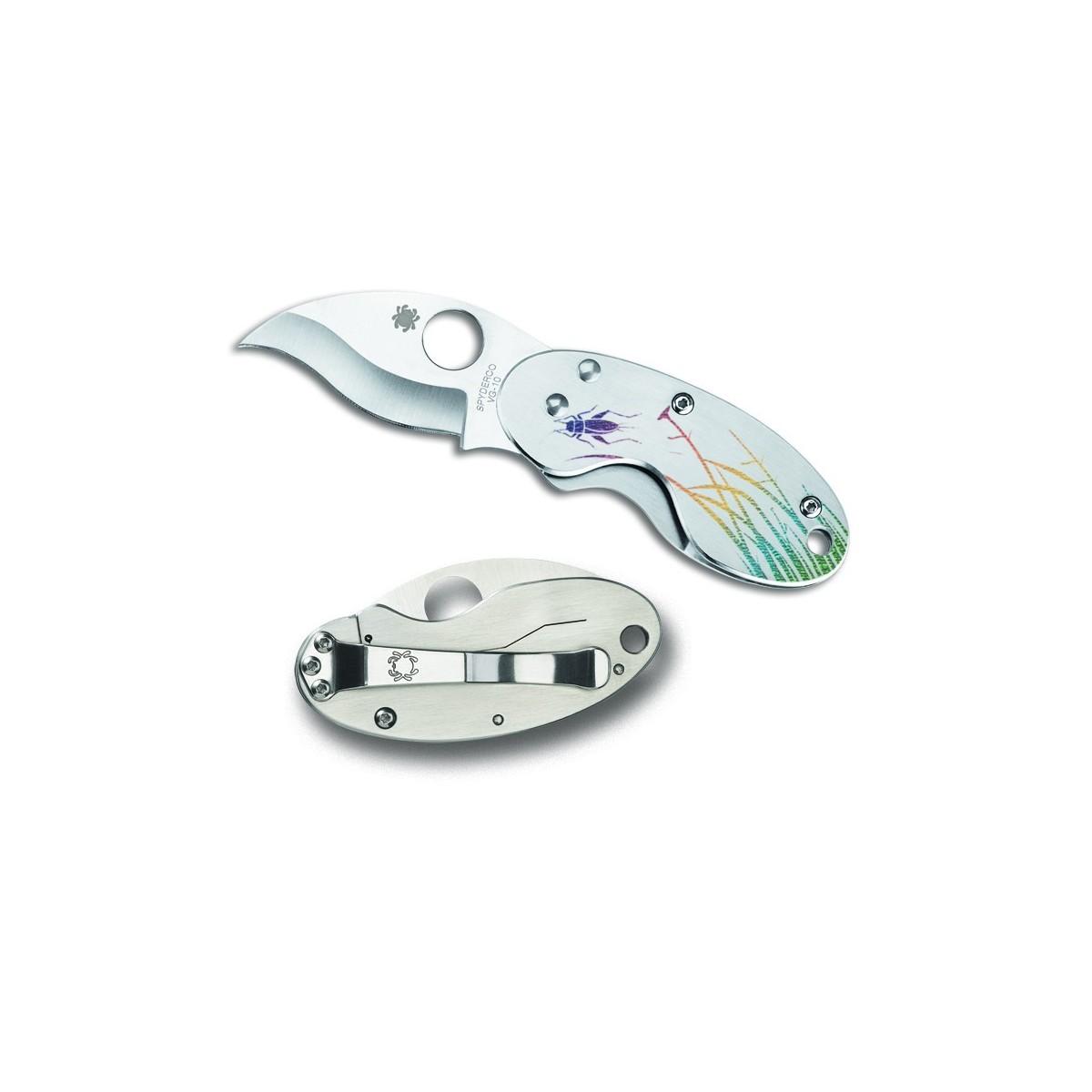 """มีดพับ Spyderco C29PT Cricket Tattoo Folding Knife 1.89"""" VG10 Blade, Stainless Steel Handles"""