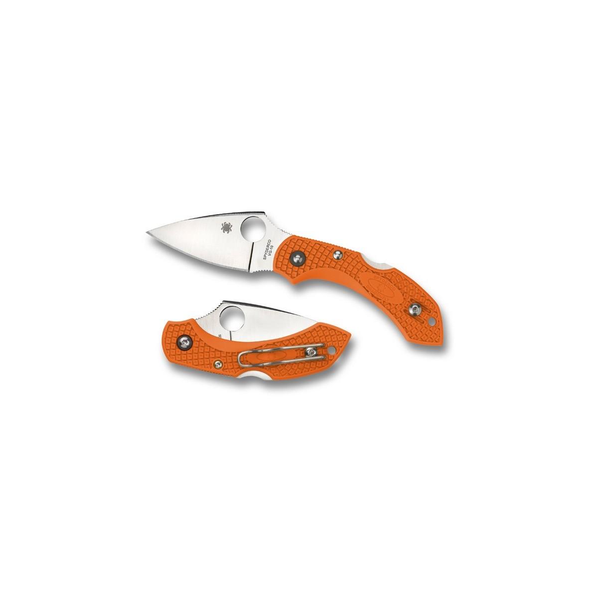 """มีดพับ Spyderco Dragonfly 2 Folding Knife 2-5/16"""" VG10 Plain Blade, Orange FRN Handles,C28POR2"""