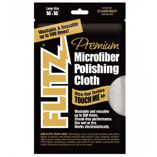 """ผ้าไมโครไฟเบอร์ซุปเปอร์พรีเมี่ยมเกรด Flitz Microfiber Cloths 16""""X16"""",MC200"""