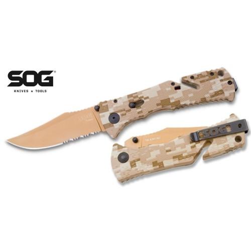 """มีดพับ SOG Trident Desert Camo 3.75"""" Assisted Copper TiNi Combo Edge Blade,TF-5"""
