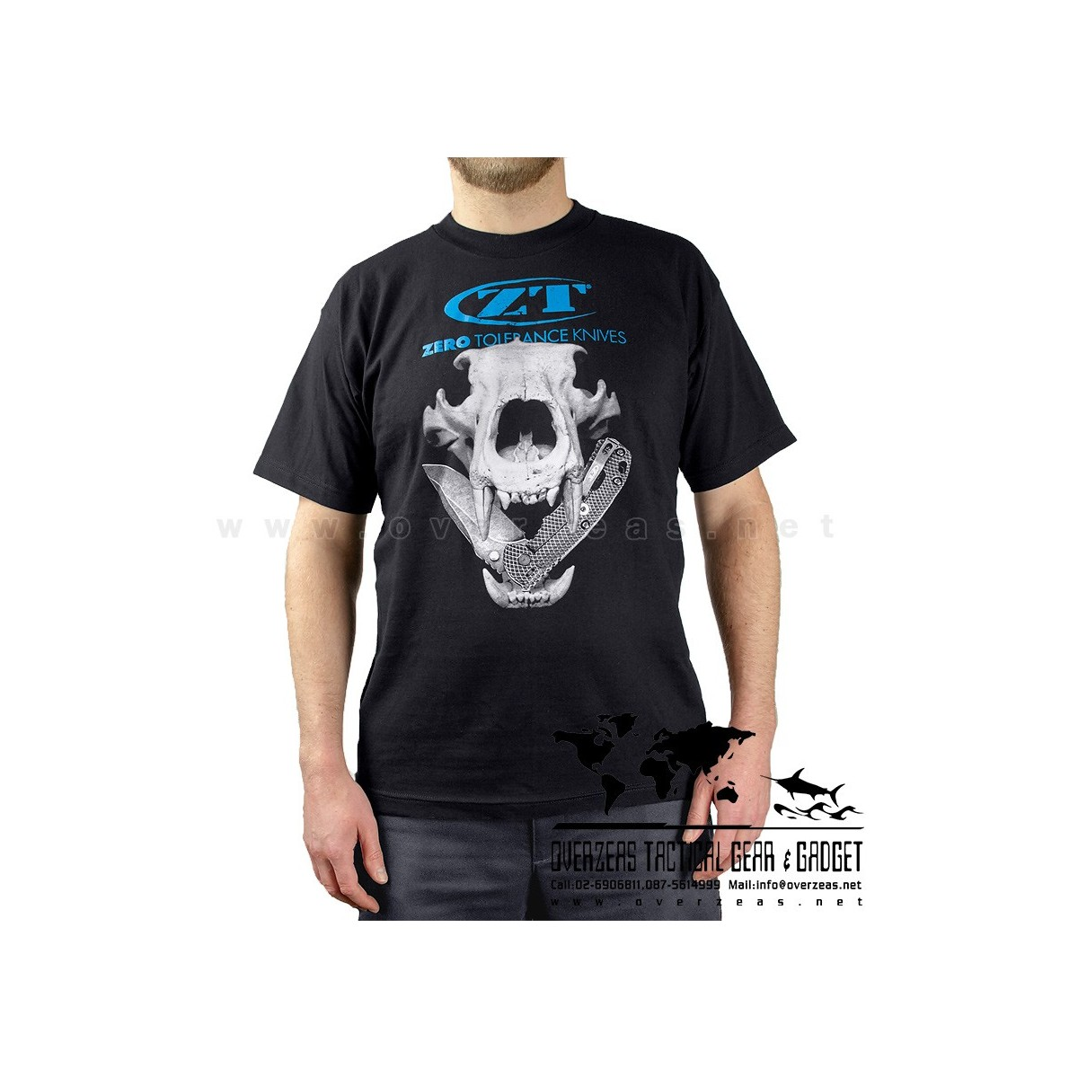 เสื้อยืด ZT Skull  (Zero Tolerance) 100% Cotton,Made in USA, ไซส์ M