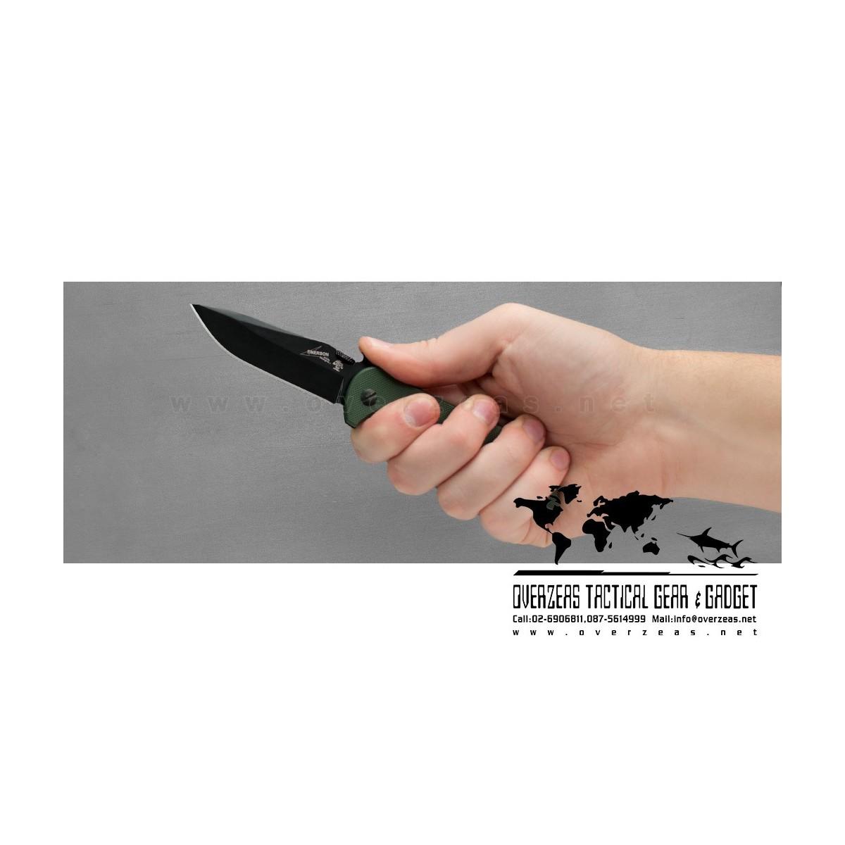 """มีดพับ Kershaw Emerson CQC-5K Liner Lock Knife Green G-10 (3"""" Black) 6074OLBLK"""