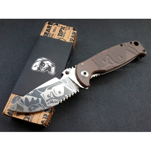 "มีดพับ DPx Gear HEST/F Folder Mr. DP Elmax 3.1"" Combo Blade, Earth Brown G10 and Titanium Handles,DPHSF124 (Limited Edition)"