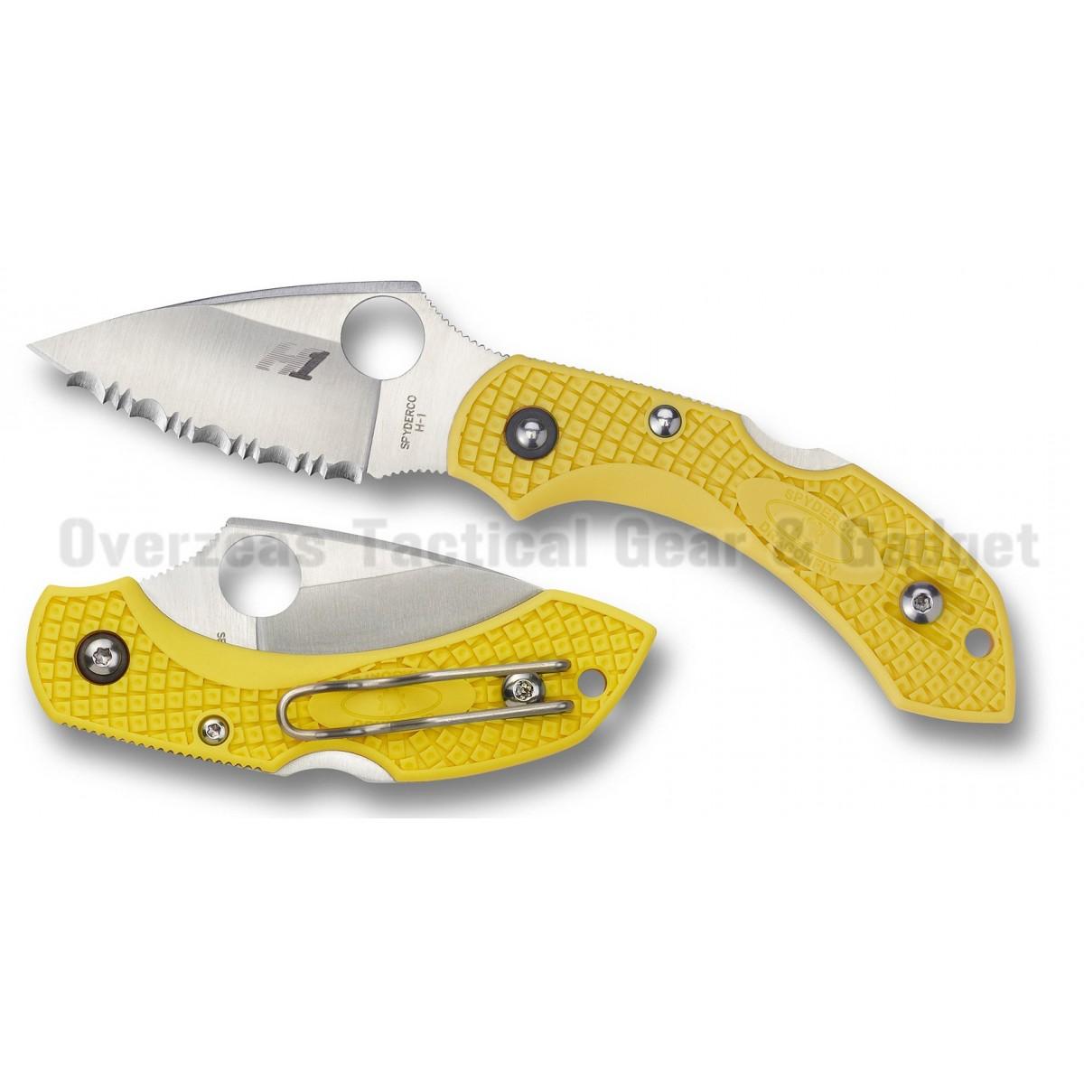 """มีดพับ Spyderco Dragonfly 2 Salt Yellow FRN Folding Knife (2.25"""" Satin Serr) C28SYL2"""