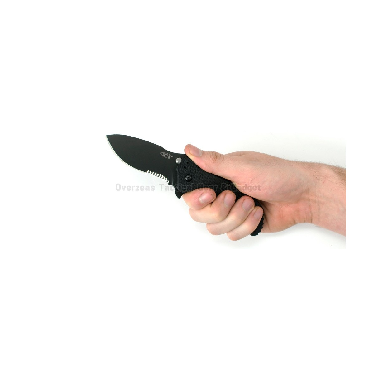 """มีดพับ Zero Tolerance 0350ST Assisted Opening Knife Black G-10 (3.25"""" Black Serr) ZT"""