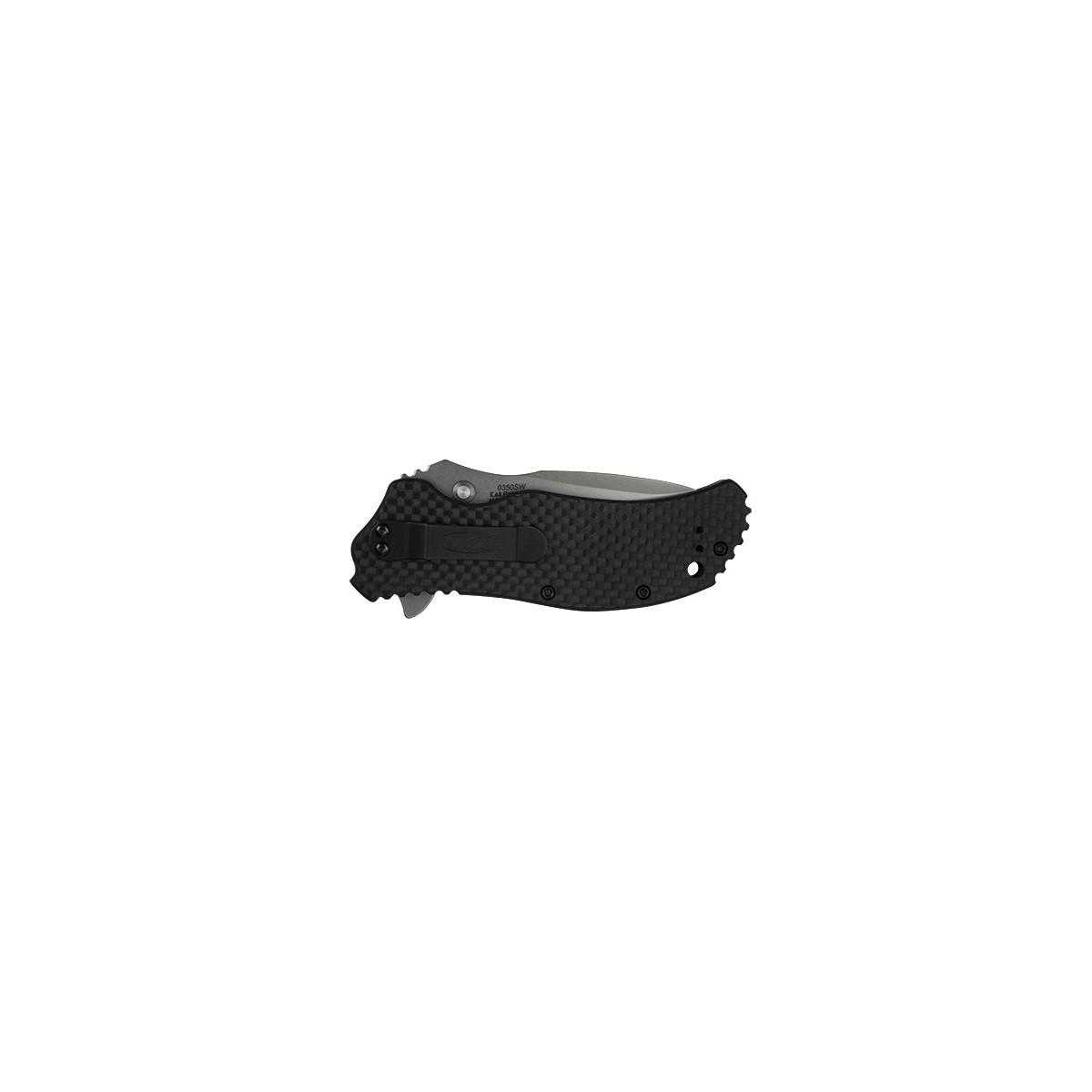"""มีดพับ Zero Tolerance 0350SWCF Assisted Opening Knife Carbon Fiber (3.25"""" Stonewash) ZT0350SWCF"""