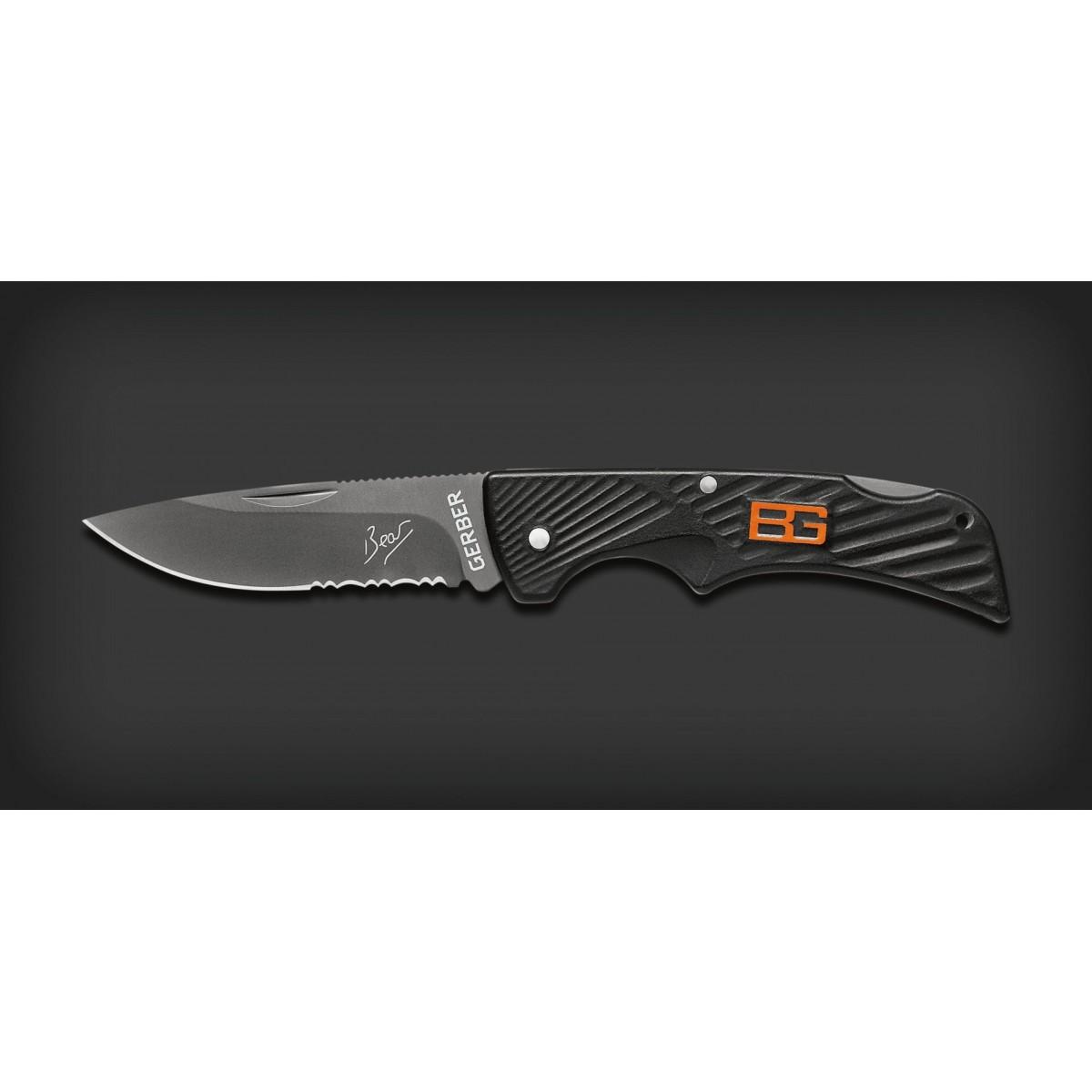 """มีดพับ Gerber Bear Grylls Compact Scout Lockback Knife (2.5"""" Black Serr) 31-000760"""