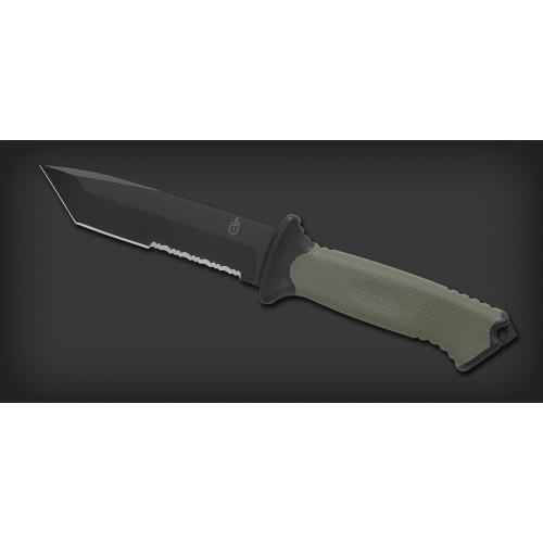 """มีดเดินป่า มีดใบตาย Gerber Prodigy Combat Tanto Fixed Blade Knife (4.75"""" Black Serr) 31-000558"""