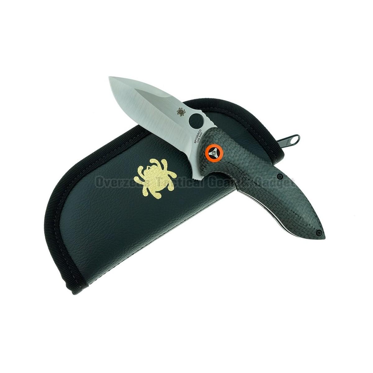 """มีดพับ Spyderco Rubicon Flipper Liner Lock Knife Carbon Fiber (3"""" Satin) C187CFP"""