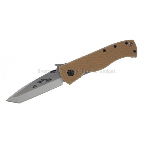 "มีดพับ Emerson CQC-7V SF Tanto Knife w/ Wave & Tan G-10 Handle (3.3"" Stonewash Plain)"