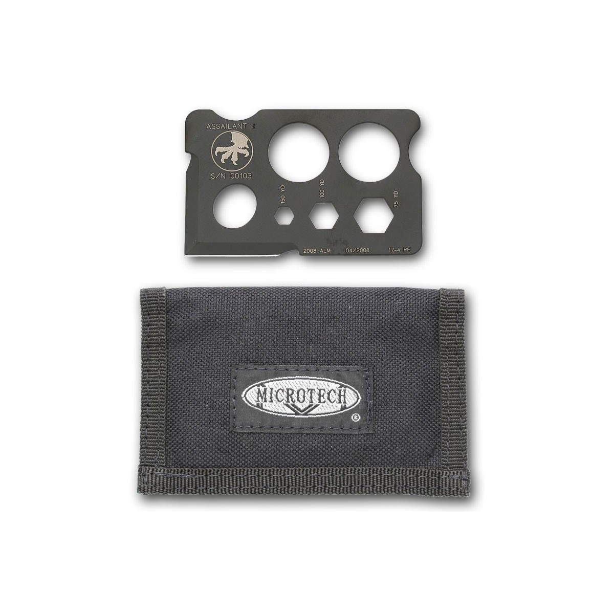 "Microtech Assailant II Credit Card Style Knife with Nylon Wallet 3.4"" x 2.1"""