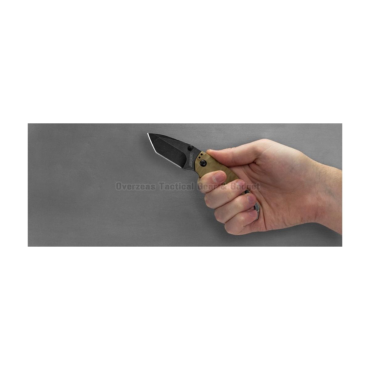 """มีดพับ Kershaw Shuffle II Tanto Liner Lock Knife Tan (2.25"""" BlackWash) 8750TTANBW"""