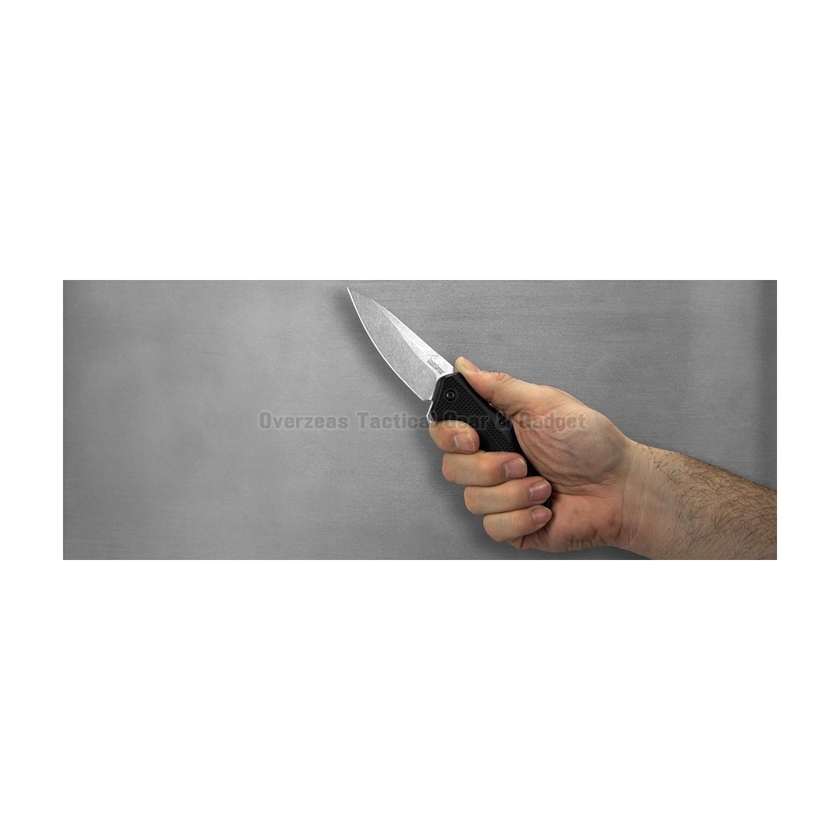 """มีดพับ Kershaw Link Drop Point Knife Black GFN (3.25"""" Stonewash) 1776"""