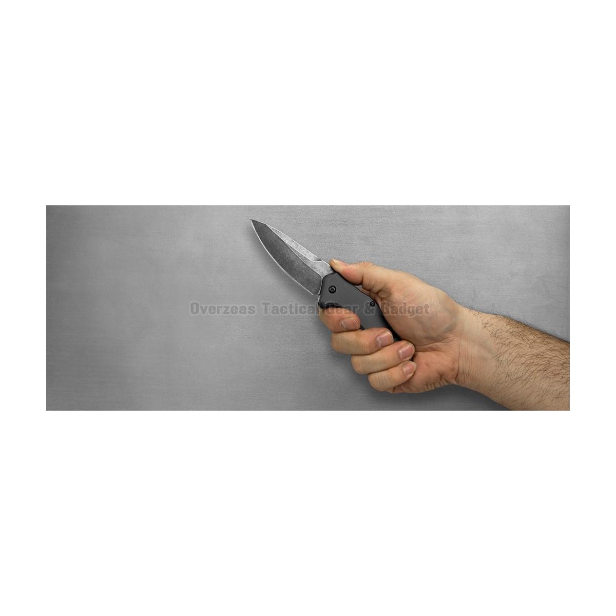 """มีดพับ Kershaw Link Drop Point Knife Gray Aluminum (3.25"""" BlackWash) 1776GRYBW"""