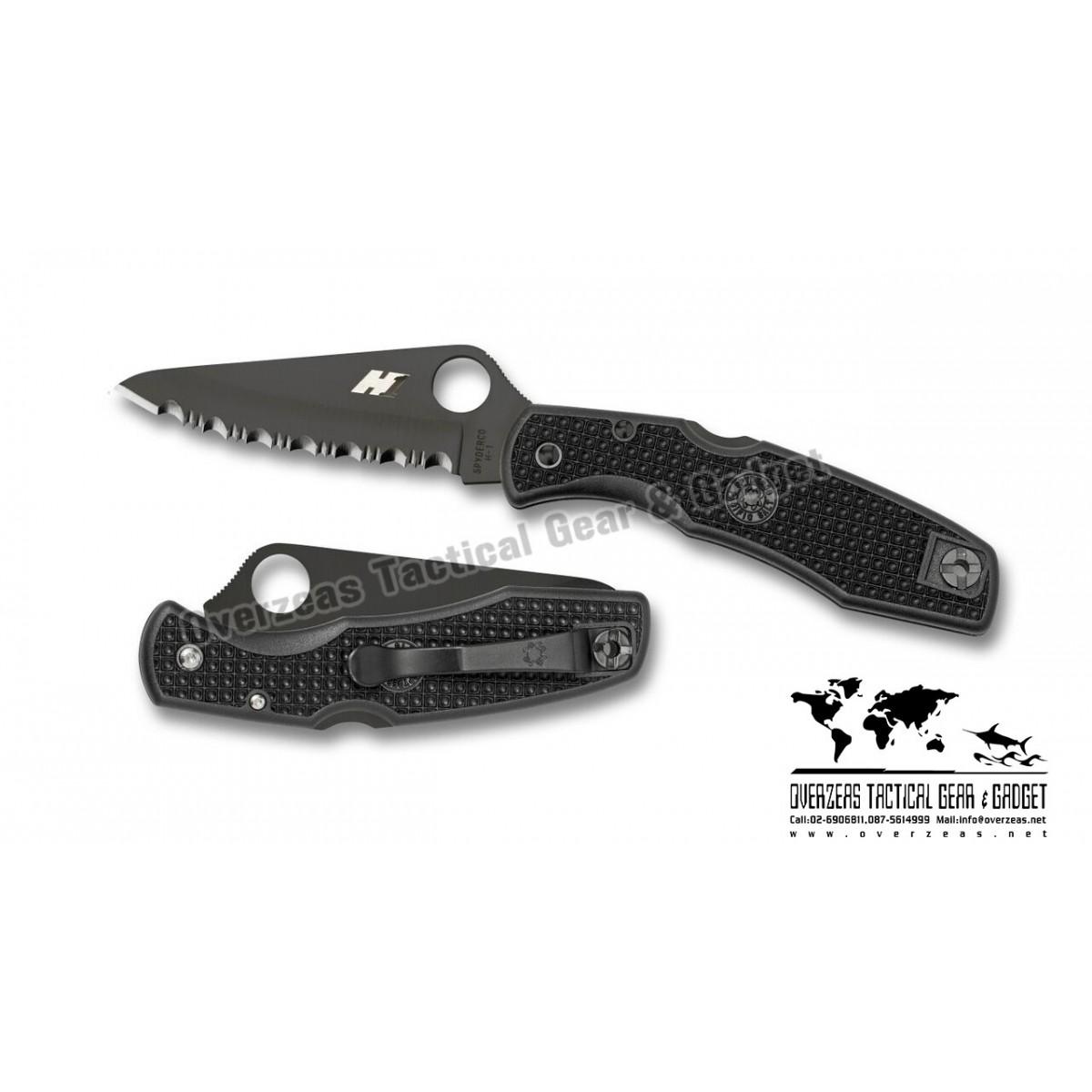 """มีดพับ Spyderco Pacific Salt H-1 Knife Black FRN (3.81"""" Black Full Serr) C91SBBK"""