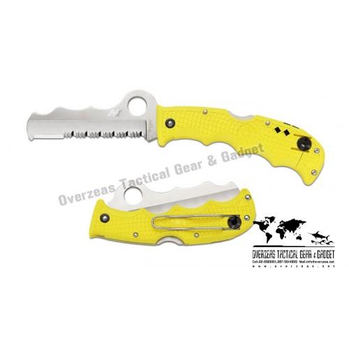 """มีดพับ Spyderco Assist Salt H-1 Knife Yellow FRN (3.69"""" Satin Serr) C79PSYL"""