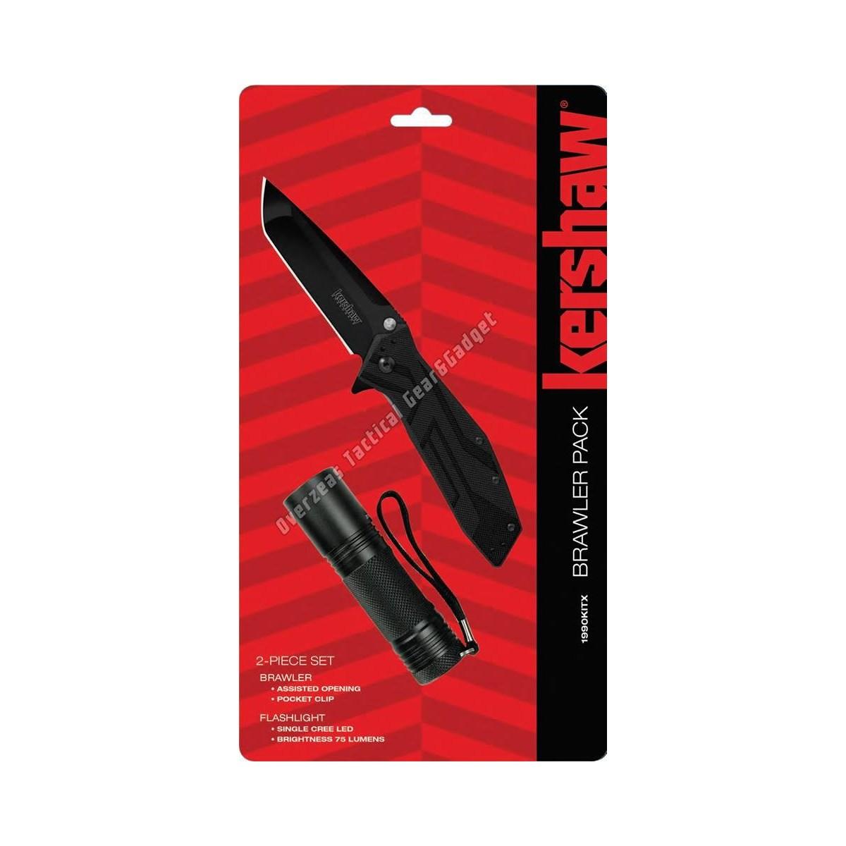 ชุดคอมโบสุดคุ้ม Kershaw Brawler Pack Assisted Opening Knife + ไฟฉาย LED Flashlight (1990KITX)