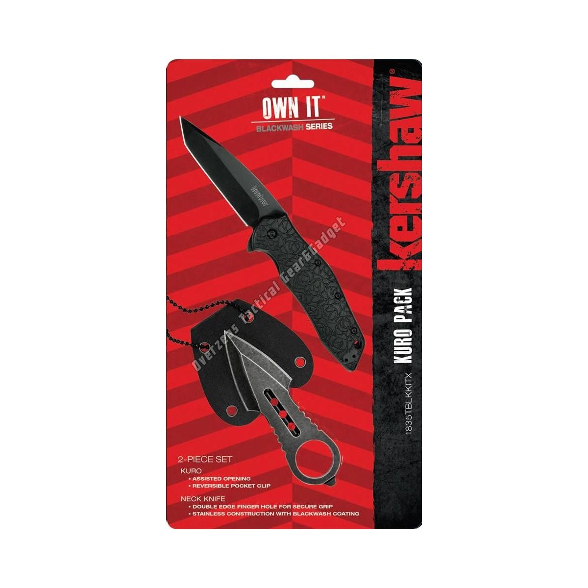 ชุดคอมโบสุดคุ้ม Kershaw Kuro Pack Assisted Opener + D/E Neck Knife Set (1835TBLKKITX)