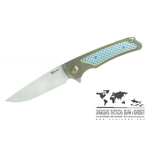 """มีดพับ Reate Knives Wave Frame Lock Knife Titanium (3.375"""" Stonewash) M390"""