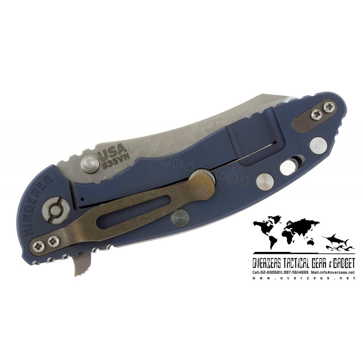 """มีดพับ Hinderer Knives XM-18 2016 LE Skinner Frame Lock Knife Blue/Black (3.5"""" Satin/SW)"""