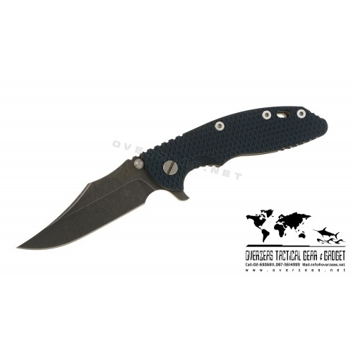 "มีดพับ Hinderer Knives XM-18 Bowie Flipper Knife Blue/Black (3.5"" Black SW)"