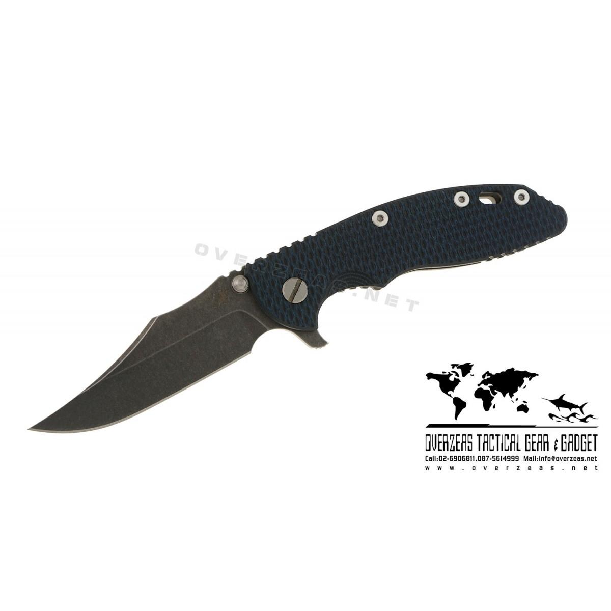"""มีดพับ Hinderer Knives XM-18 Bowie Flipper Knife Blue/Black (3.5"""" Black SW)"""