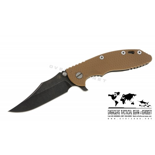 "มีดพับ Hinderer Knives XM-18 Bowie Flipper Tan G-10 (3.5"" Black SW)"