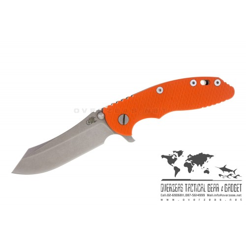 "มีดพับ Hinderer Knives XM-18 2016 Skinner Frame Lock Knife Grey Orange G-10 (3.5"" Stonewash)"