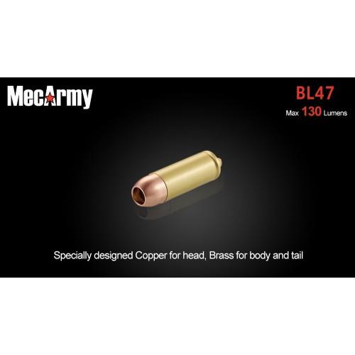 ไฟฉายขนาดเล็ก ห้อยพวงกุญแจ MecArmy BL47ทรงกระสุนปืน (บอดี้ทองแดง+ทองเหลือง) Flashlight CREE XP-G2 130 Lumens,(BL47)