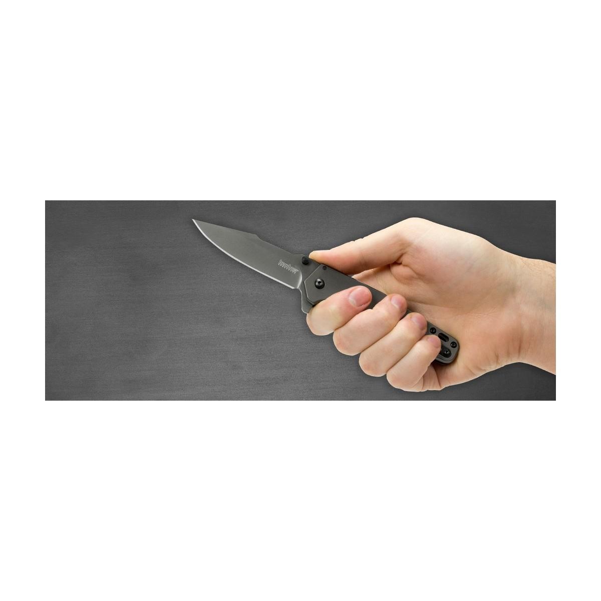 """มีดพับ Kershaw Ferrite Assisted Opening Flipper Knife (3.25"""" Gray Ti) 1557TI"""
