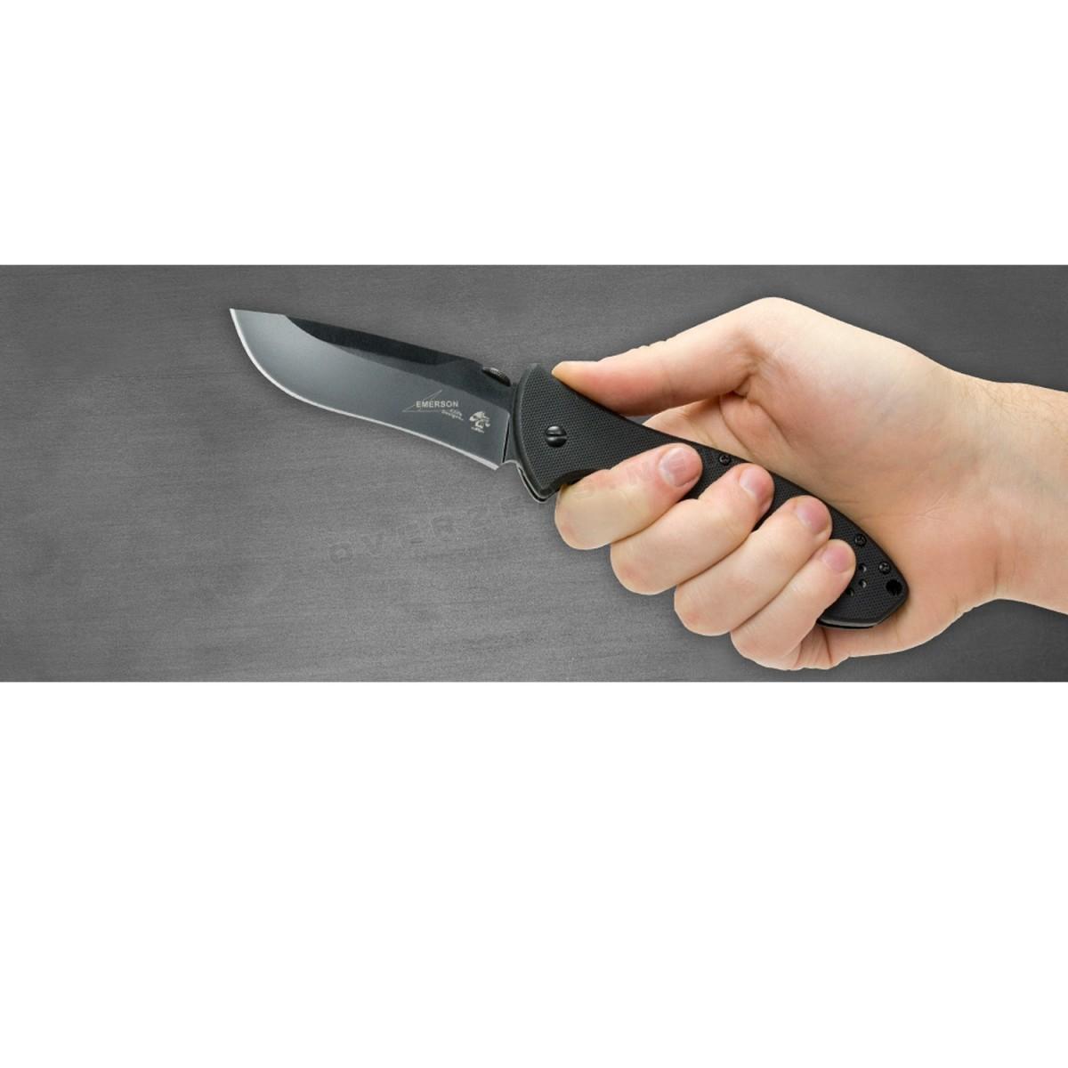 """มีดพับ Kershaw Emerson CQC-9K Liner Lock Knife Black G-10 (3.5"""" Black),6045BLK"""