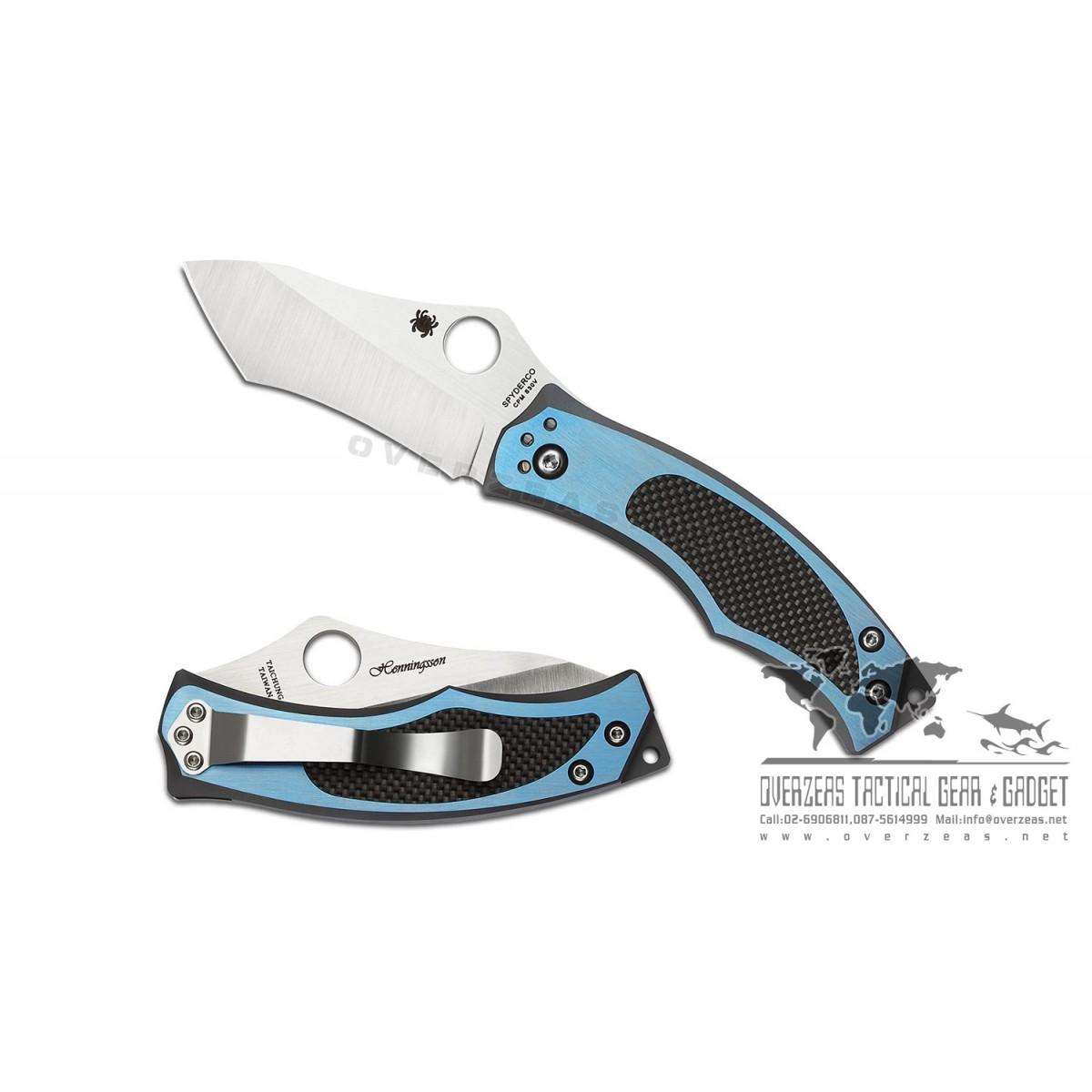"""มีดพับ Spyderco Vrango Liner Lock Knife Titanium/Carbon Fiber (2.5"""" Satin) C201TIBLP"""