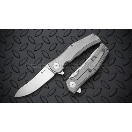"""มีดพับ Reate Knives Hills Flipper Titanium Frame Lock Knife (3.6"""" Stonewash)"""