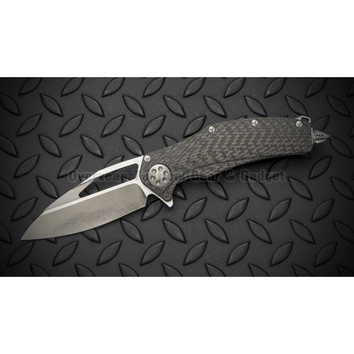 "มีดพับ Marfione Custom Matrix R Flipper Knife Carbon Fiber (3.75"" Two-Tone Stonewash)"